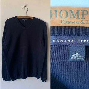 Men's Navy Blue Banana Republic V Neck Sweater